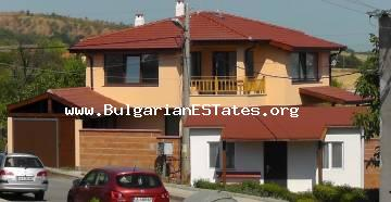 For sale is a new built two-storey house with a porch, garage, shed, basement and a fence in the village of Laka, 5 km from the sea and 12 km from the city of Burgas.