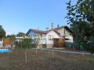A new house is offered for sale in the village of Drachevo, 22 km from the sea and the city of Bourgas.
