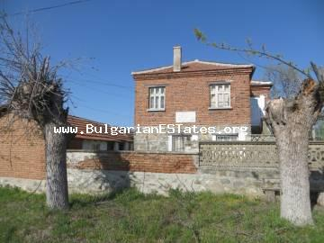 A two-storey massive house is offered for sale in the village of Golyamo Krushevo, only 60 km from the city of Bourgas and the sea.